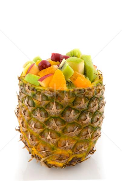 Tropische vruchten salade cocktail ananas appel oranje Stockfoto © ivonnewierink