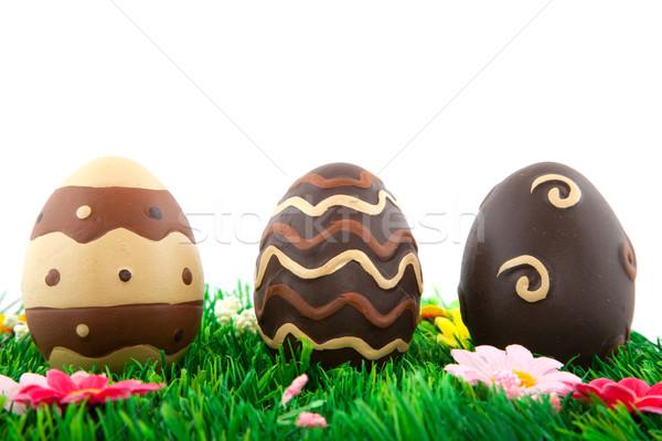 Stok fotoğraf: çikolata · paskalya · yumurtası · yalıtılmış · beyaz · Paskalya · bahar