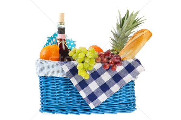 Alimentação saudável pão frutas frescas vinho vidro Foto stock © ivonnewierink