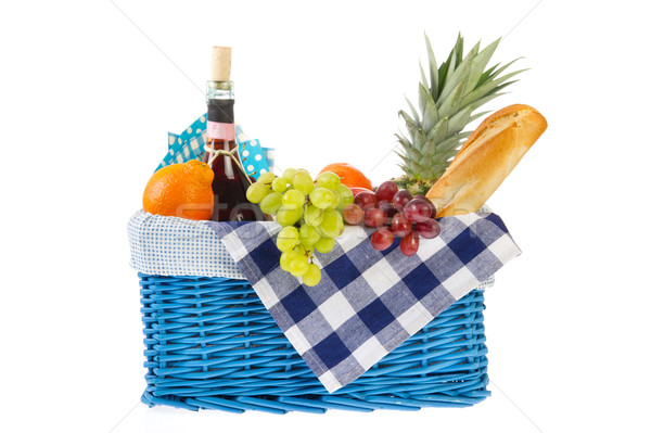 Cibo sano pane frutta fresca vino vetro Foto d'archivio © ivonnewierink