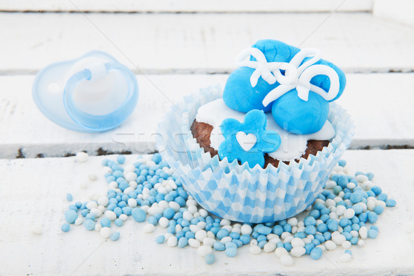 Cupcake for a born baby boy Stock photo © ivonnewierink
