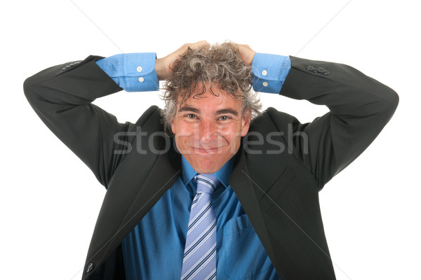Adult business man with stress Stock photo © ivonnewierink