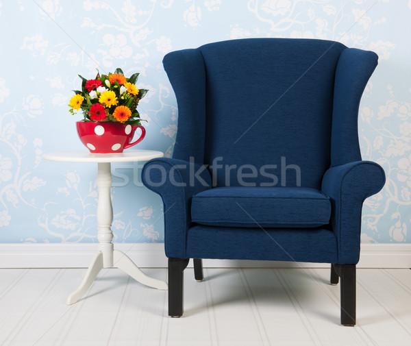 Stock fotó: Belső · kék · szoba · élet · klasszikus · fal