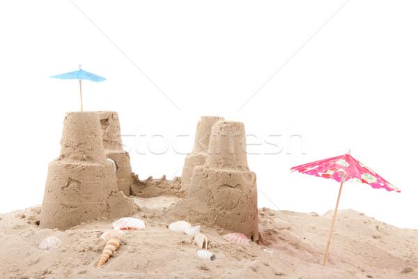 пляж двухуровневый стробирующий импульс фон замок мяча белый Сток-фото © ivonnewierink