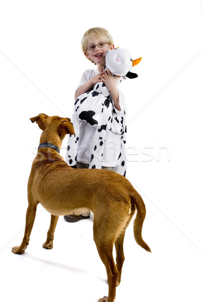 boy with toy and dog Stock photo © ivonnewierink