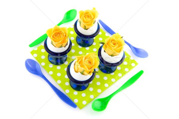 ストックフォト: 黄色 · バラ · 青 · 卵 · カップ · 卵