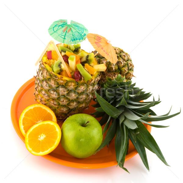 Tropische vruchten oranje dienblad vruchten achtergrond tropische Stockfoto © ivonnewierink