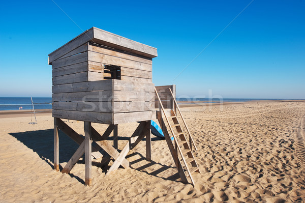 Plaj kulübe ahşap kulübe su manzara kum Stok fotoğraf © ivonnewierink