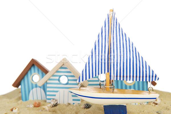 Stock fotó: Csetepaté · tengerpart · házak · csónak · vakáció · vitorlás