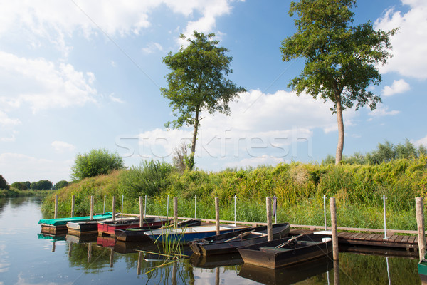 голландский реке пейзаж спокойный лодках Сток-фото © ivonnewierink