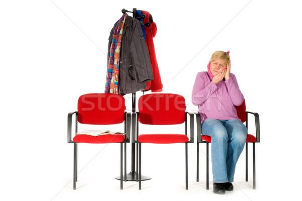 Wachtkamer tandarts vrouw pijn ouderen tanden Stockfoto © ivonnewierink