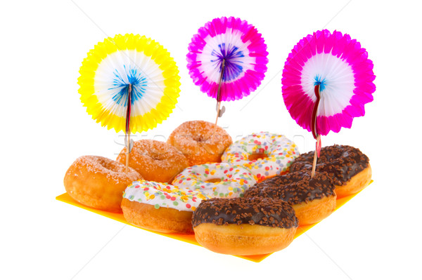 Birthday donuts with colorful glaze Stock photo © ivonnewierink