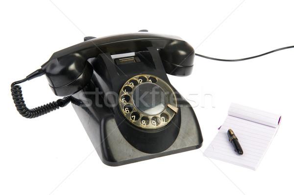 Vintage czarny telefon notatka odizolowany biały Zdjęcia stock © ivonnewierink