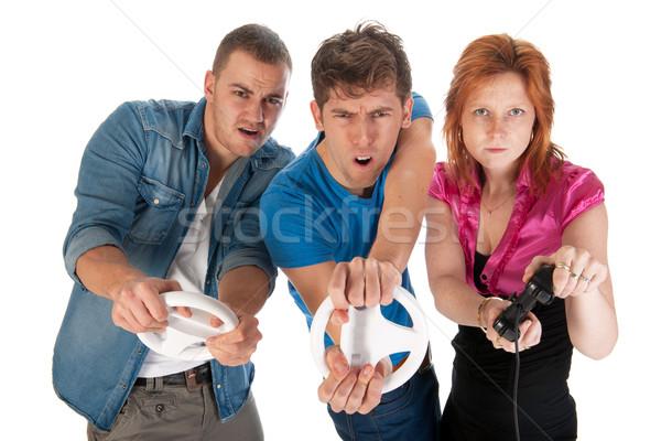 Stockfoto: Jongeren · drie · jonge · vrienden · computer