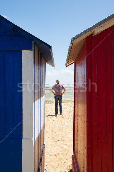man on the beach in front of beach huts Stock photo © ivonnewierink