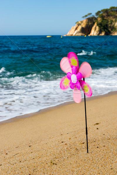 игрушку ветер мельница пляж красочный лет Сток-фото © ivonnewierink