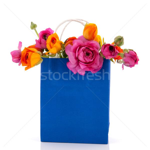 Torby papierowe kwiaty niebieski kolorowy masło Zdjęcia stock © ivonnewierink