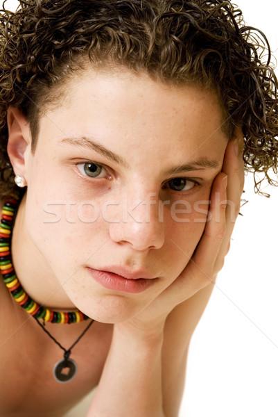 Porträt · Hand · nackt · Junge · Kette - stock foto ...