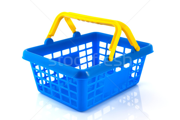 Kék bevásárlókosár citromsárga üres vásárlás fehér Stock fotó © ivonnewierink
