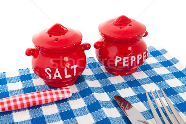 表 カトラリー ナプキン 唐辛子 塩 食品 ストックフォト © ivonnewierink