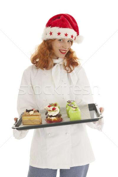 Kobiet piekarz Święty mikołaj christmas kucharz Zdjęcia stock © ivonnewierink