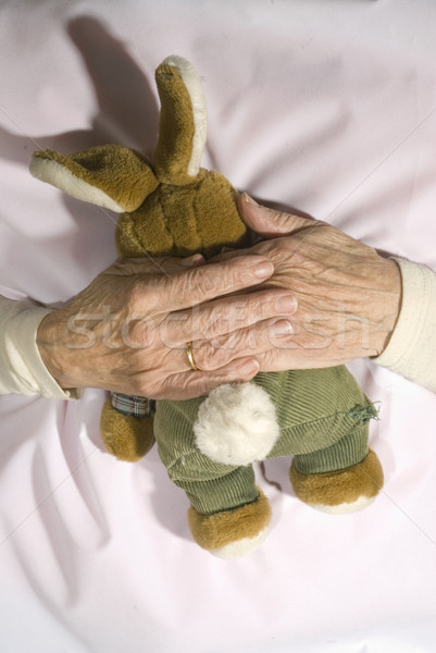 Old demented person with stuffed rabbit Stock photo © ivonnewierink