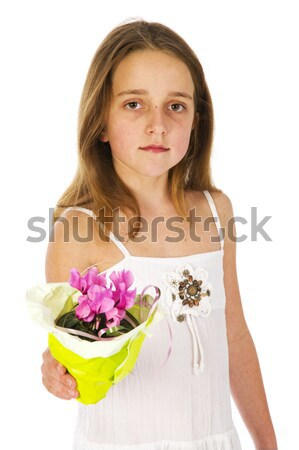 Girl with flower plant Stock photo © ivonnewierink
