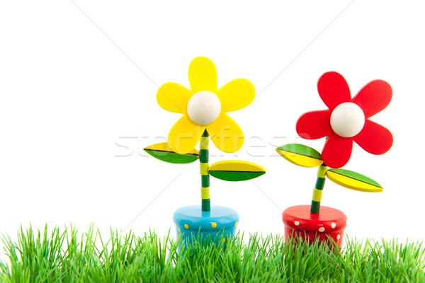 Verão alegre flores grama verde vermelho brinquedos Foto stock © ivonnewierink