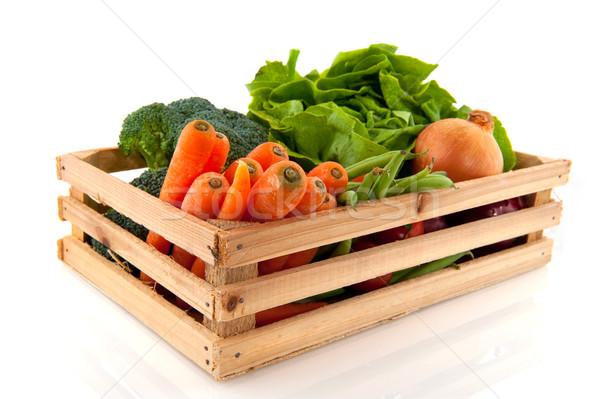 Láda zöldségek fából készült diverzitás minden nap konténer Stock fotó © ivonnewierink