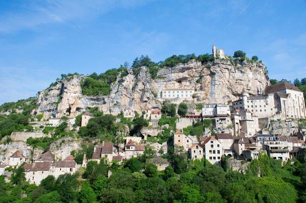Peregrinação aldeia francês cidade igreja montanhas Foto stock © ivonnewierink