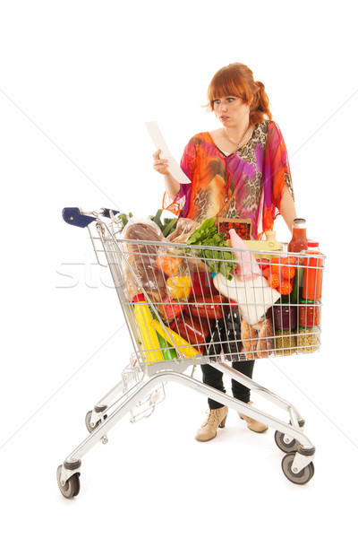 Woman with Shopping cart full dairy grocery Stock photo © ivonnewierink