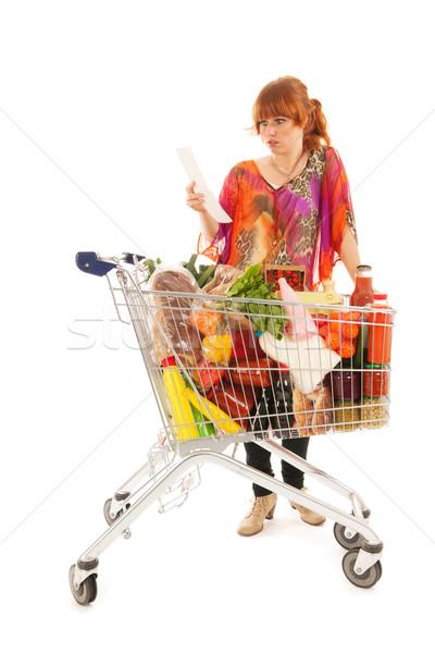Nő bevásárlókocsi tele tejgazdaság élelmiszer termékek Stock fotó © ivonnewierink