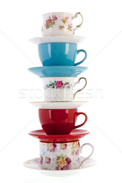 Stack vintage coffee or tea cups Stock photo © ivonnewierink