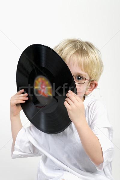 Kid lp muziek oude zwarte Stockfoto © ivonnewierink