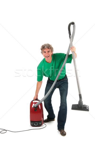 Man leuk huishouding werken huis stofzuiger Stockfoto © ivonnewierink