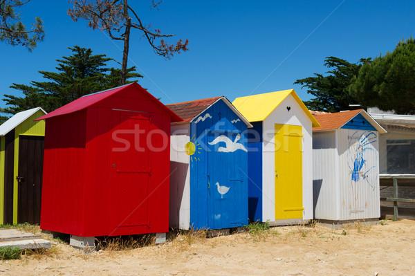 Beach huts on island Oleron in France Stock photo © ivonnewierink