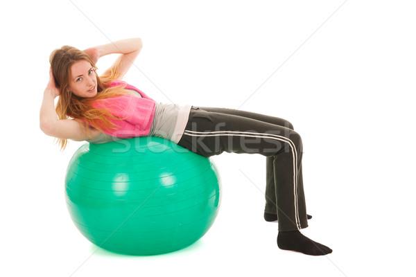Sport Frau Ball Ausbildung isoliert weiß Stock foto © ivonnewierink