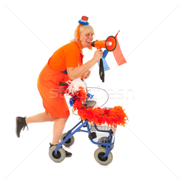 Funny senior Dutch soccer supporter Stock photo © ivonnewierink
