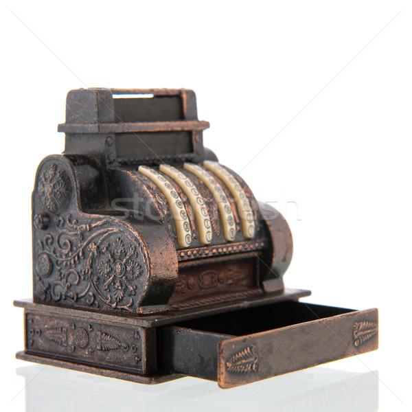 Kassa koper antieke geïsoleerd witte bureau Stockfoto © ivonnewierink