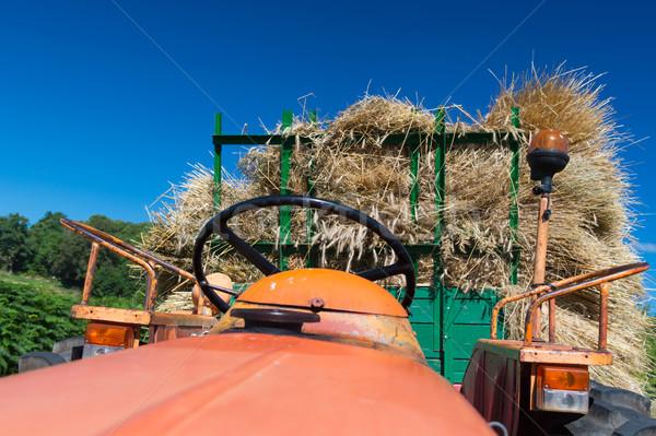 Vintage трактора сено пейзаж фермы транспорт Сток-фото © ivonnewierink