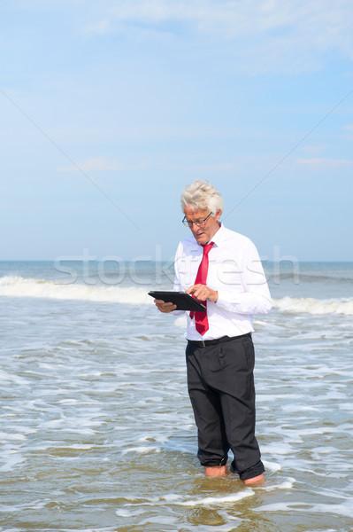 Stock fotó: üzletember · dolgozik · tabletta · áll · tenger · hivatalos