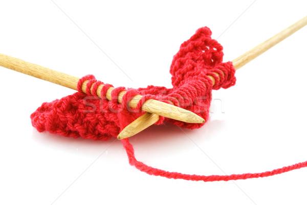 Stock fotó: Köt · ruházat · fából · készült · tűk · piros · gyapjú