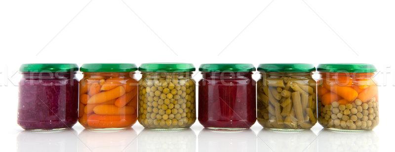 Megőrzött zöldségek üveg piros üvegek izolált Stock fotó © ivonnewierink