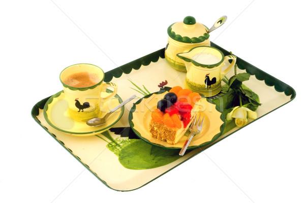 Koffie fruitcake bloem groene kip melk Stockfoto © ivonnewierink