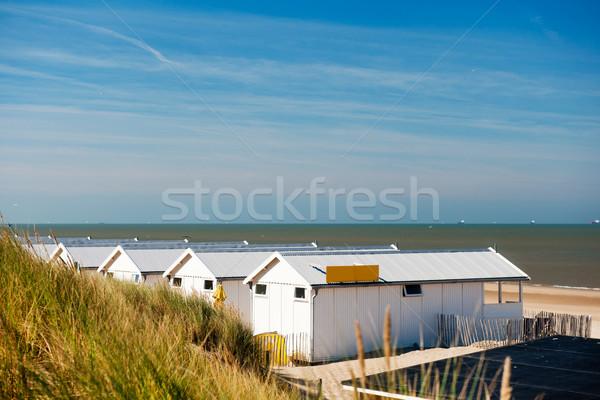 Stok fotoğraf: Plaj · evler · hollanda · sahil · beyaz