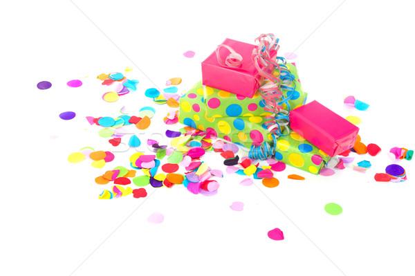 Doğum günü hediyeler renkli konfeti yalıtılmış beyaz Stok fotoğraf © ivonnewierink