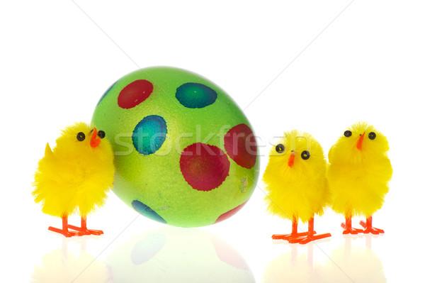 Húsvét színes tojás citromsárga zöld izolált Stock fotó © ivonnewierink