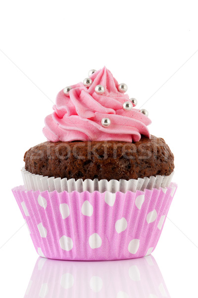 Chocolate cupcake with pink butter icing Stock photo © ivonnewierink
