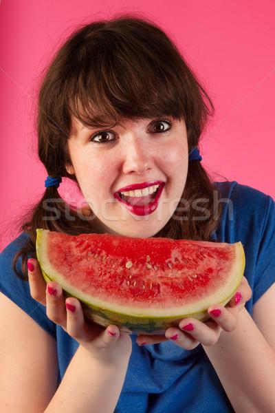 Eating fresh slice of melon Stock photo © ivonnewierink