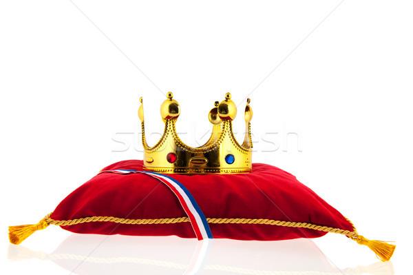 Arany korona bársony párna holland zászló Stock fotó © ivonnewierink